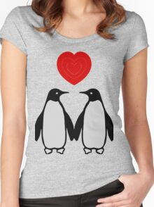 Penguins in love Women's Fitted Scoop T-Shirt