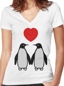 Penguins in love Women's Fitted V-Neck T-Shirt