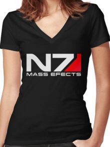 n7 mass effect Women's Fitted V-Neck T-Shirt