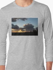 Cypress Sunset - a Very Italian Moment on the Coast of Herculaneum Long Sleeve T-Shirt