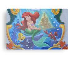 A Mermaid, A Crab, A Flounder, Ocean Life Canvas Print