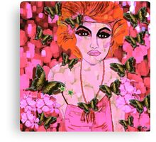 Beauty in Pink Flowers and Butterflies Vintage Canvas Print
