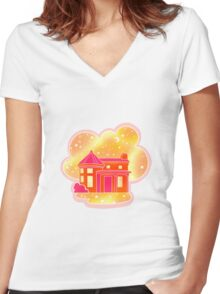 Star House Women's Fitted V-Neck T-Shirt