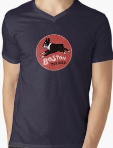 Boston Terrier Retro Style Mens V-Neck T-Shirt