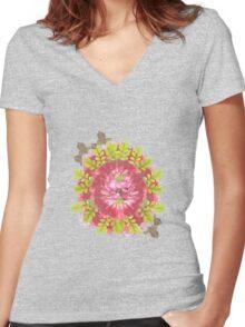 Summer - Bloomed 003 Women's Fitted V-Neck T-Shirt