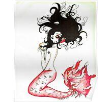 Blood Red Mermaid Poster