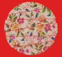 Golden Flitch (Digital Vintage Retro / Glitched Pastel Flowers - Floral design pattern) Kids Tee