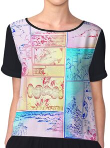 Rainbow Asian Scroll Art Collage Bright Blue Pink Birds Yellow Red Flower Back to School Chiffon Top