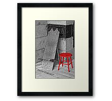 RED STOOL - GREY GRANITE Framed Print