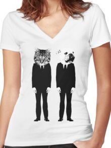 The Cat and Dog Business Men Women's Fitted V-Neck T-Shirt