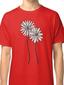 Two Daisies  in Black and White Transparent Background Classic T-Shirt