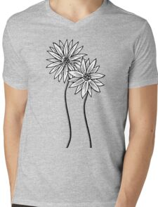 Two Daisies  in Black and White Transparent Background Mens V-Neck T-Shirt