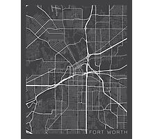 Fort Worth Map, USA - Gray Photographic Print