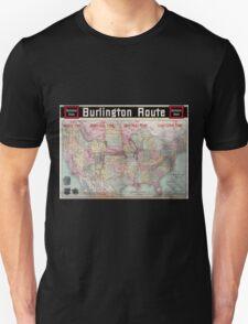 0218 Railroad Maps Burlington Unisex T-Shirt