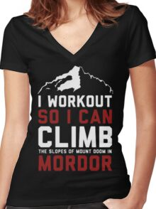 Funny workout Women's Fitted V-Neck T-Shirt