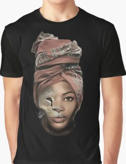 African Lion Girl Graphic T-Shirt