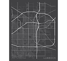 Lubbock Map, USA - Gray Photographic Print