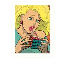 Pop Cube Girl (clean) Art Print