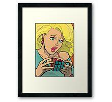 Pop Cube Girl (clean) Framed Print