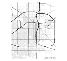 Lubbock Map, USA - Black and White Photographic Print