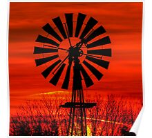 Midwestern Windmill Sunrise Silhouette Poster