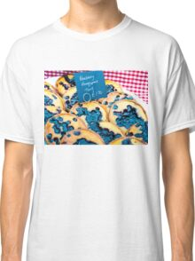 Delicious round blueberry tarts in British market Classic T-Shirt