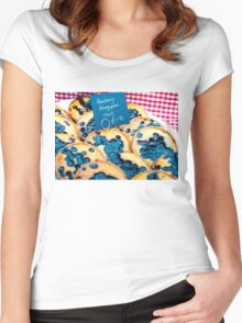 Delicious round blueberry tarts in British market Women's Fitted Scoop T-Shirt