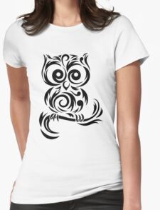 Black Owl Womens Fitted T-Shirt