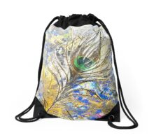 Dancing Peacock 1 'Rain Painting' Drawstring Bag