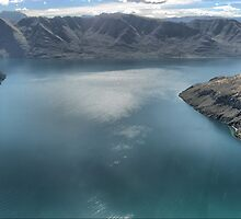 Helicopter High ( 12 )  Glistening on Wanaka Blue. by Larry Lingard-Davis