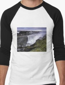 Waterfall: Dawn at Dettifoss, Iceland Men's Baseball ¾ T-Shirt