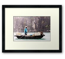 Rain & Rowboat: Life in Halong Bay, Vietnam  Framed Print