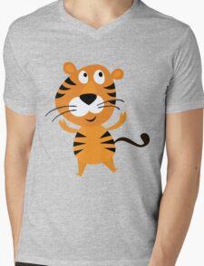 Cartoon Tiger Mens V-Neck T-Shirt