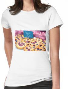 Delicious round raspberry tarts in British market Womens Fitted T-Shirt