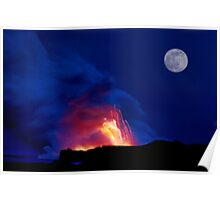 Moon Over Kilauea Volcano at Kalapana  Poster