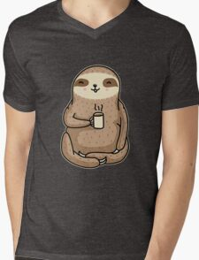 Coffee Sloth Mens V-Neck T-Shirt