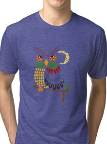 Cool Artistic Colorful Owl Abstract Art Original Tri-blend T-Shirt