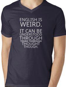 Funny Quote Comical Pun English Design Graphic Mens V-Neck T-Shirt