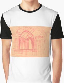 Watercolor sketch with classical window. Graphic T-Shirt