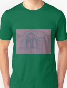 Watercolor sketch with classical window. Unisex T-Shirt