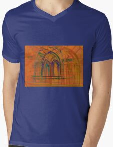 Watercolor sketch with classical window. Mens V-Neck T-Shirt