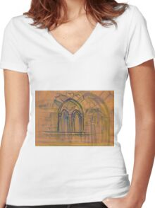 Watercolor sketch with classical window. Women's Fitted V-Neck T-Shirt