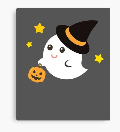 Cute Kawaii Ghost Halloween Print Graphic Funny Canvas Print