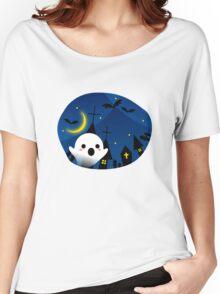 Kawaii Cute Ghost Halloween Night Bat Haunted House Women's Relaxed Fit T-Shirt