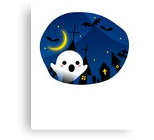 Kawaii Cute Ghost Halloween Night Bat Haunted House Canvas Print