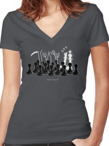 Checkmate Pion King Queen Funny Humor Women's Fitted V-Neck T-Shirt