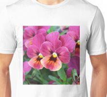 European Garden Pink Pansy Flower Unisex T-Shirt