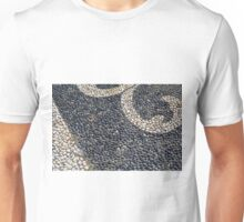 Floor texture with colorful decorative pebbles. Unisex T-Shirt