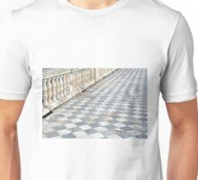 Checkered floor with baluster handrail. Unisex T-Shirt