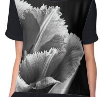 Pink Fringed Tulip on Black Background Chiffon Top